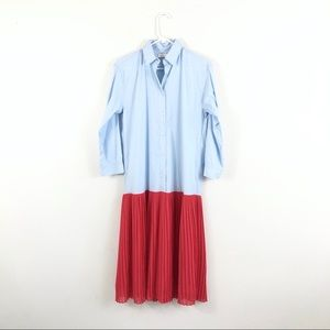 NWT Sandro Janine Two Tone Pleated Shirt Dress